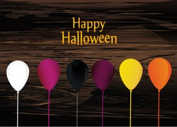 Halloween. Balloons  for a holiday, birthday and a party. Multicolored inflatable balls. Complimentary ticket. Free space for text or text. Vector on wooden background.