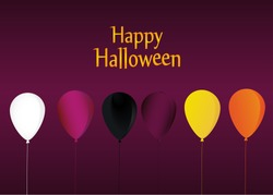 Halloween. Balloons  for a holiday, birthday and a party. Multicolored inflatable balls. Complimentary ticket. Free space for text or text. Vector.