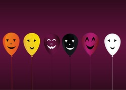 Halloween. Balloons with faces for a holiday, birthday and a party. Multicolored inflatable balls. Complimentary ticket. Free space for text or text. Vector.