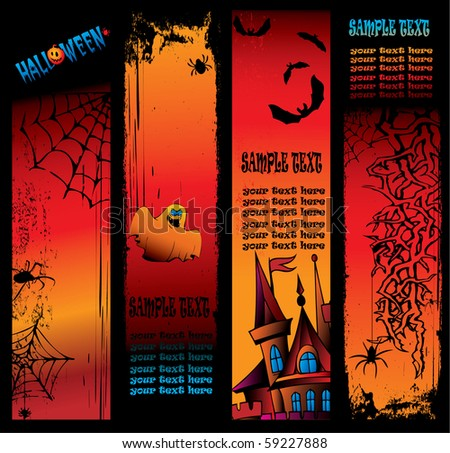 Halloween  banner. Place for sample text. Vector art-illustration.