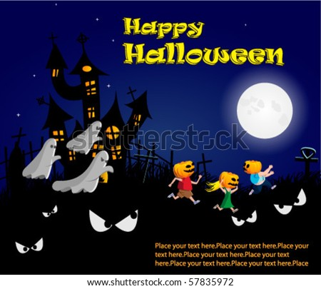 Halloween banner scared kids running from ghosts