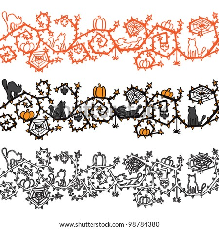 Halloween banner seamless vector - stock vector