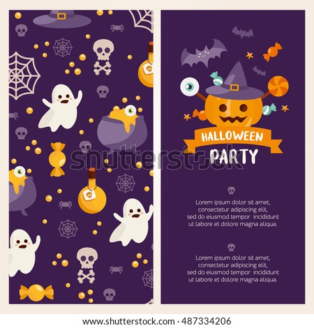 Halloween banner set template. Place for your text. Vector illustration with pumpkin, ghost, candy in flat style. Great design for halloween party, menu or invitation.