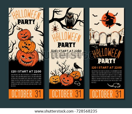 Halloween banner template. Place for your text. Vector illustration with Halloween Vintage symbols. Great design for halloween party, menu or invitation.