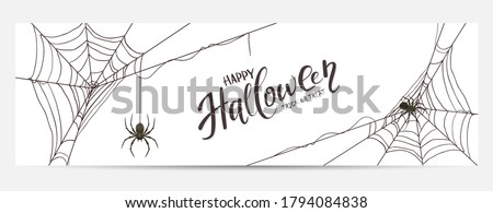 Halloween banner with black spiders and cobwebs isolated on white background. Scary illustration can be used for children's holiday design, cards, invitations and banners. Photo stock ©