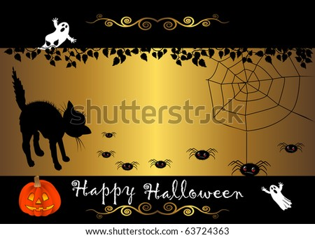 halloween banner with cat and spiders. vector.