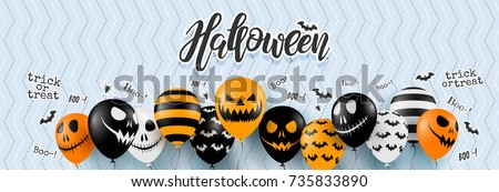 Halloween Banner with Halloween Ghost Balloons.Scary air balloons.Website spooky or banner  template. Vector illustration EPS10 stock photo