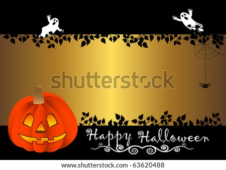 halloween banner with pumpkin. vector.