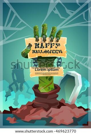 halloween banner zombie hand