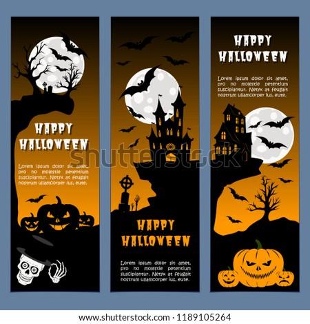 Halloween banners leaflets orange gradient vector set