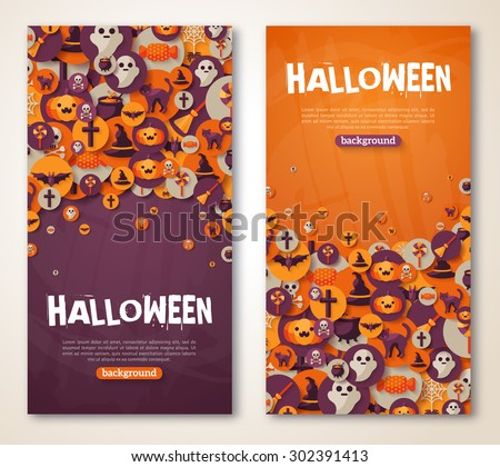 Halloween Banners Set with Icons in Circles on Textured Backdrop. Vector Illustration. Trick or Treat Stickers for Party Invitation or menu design. Place for your text.
