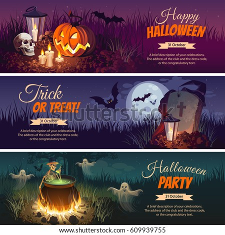 Halloween Banners with the characters on the background. Night autumn landscape