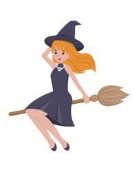 Halloween beautiful witch riding a broomstick isolated in white background, cartoon comic vector illustration
