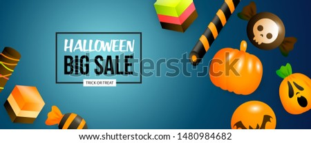 Halloween Big Sale banner with sweets and pumpkins on blue background. Lettering can be used for posters, leaflets, flyers