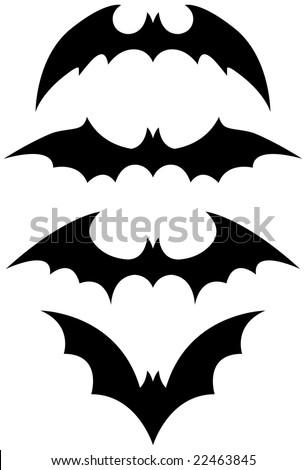Halloween black bat icon set