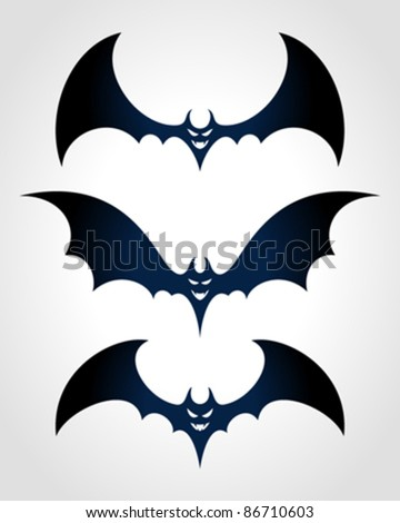 Halloween black bat scary face Vector icon set eps 10.