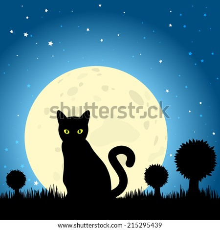 halloween black cat silhouette