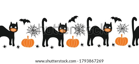 Halloween black cat wearing face mask seamless vector border. Coronaruvis Halloween 2020 Repeating pattern. Cute hand drawn kids illustration for fabric trim, cards, party invitations, footer, header