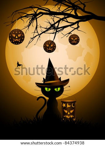 Halloween black cat with witch's hat sitting next to a lantern under spooky branches with lanterns