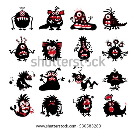 Halloween black monster silhouettes. Bacteria and beast, alien and devil, ghosts and demon vector illustration. Monsters of set for halloween, scary bizarre character monster