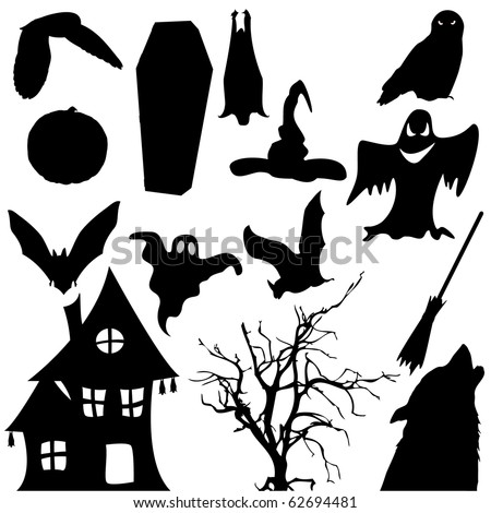 Halloween black object silhouette vector isolated on white