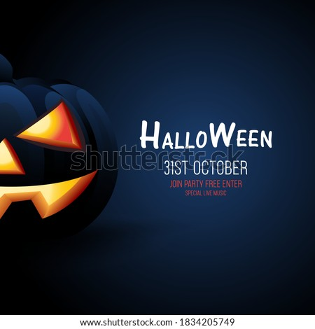 Halloween black Pumpkin on a dark blue background, Halloween banner concept design, Halloween dark style for sign, posters, flyers, post card design vector illustration templates.