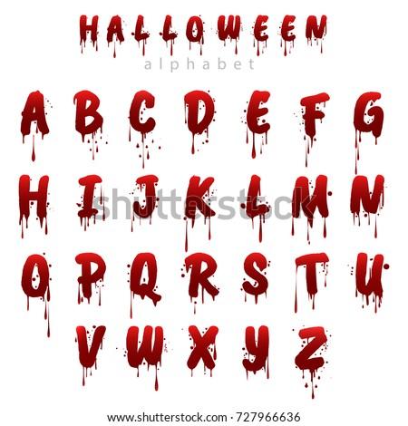 halloween bloody alphabet