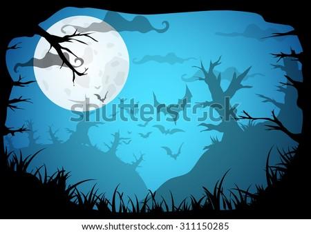 halloween blue spooky a4 frame