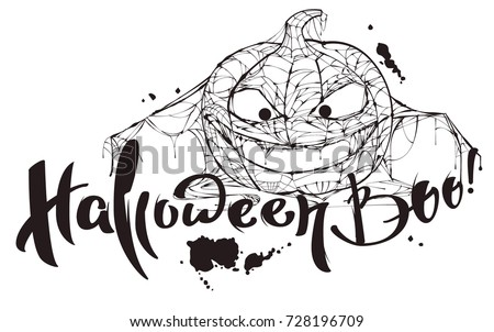 Halloween boo text. Pumpkin spider web silhouette makes boo. Isolated on white vector illustration template for greeting card