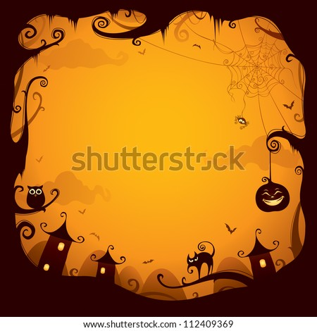 Halloween border for design - stock vector