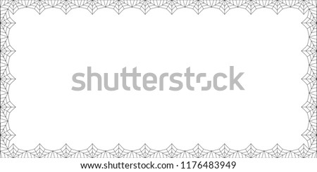 Halloween border. Vector elegant rectangle black spiderweb frame with empty copy space for text isolated on white background. Template for invitation, flyer, banner, scrapbook or greeting card.