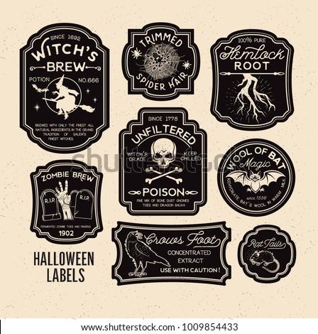 Halloween Bottle Labels & Potion Labels. Vector Illustration.