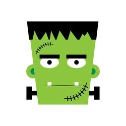 Halloween boy Frankenstein Vector illustration. Frankenstein face. Illustration for kids, card Halloween, print.