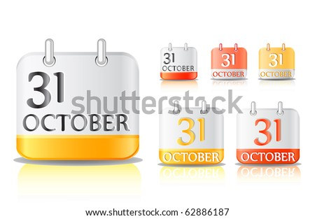 halloween calendar icon set isolated on white background