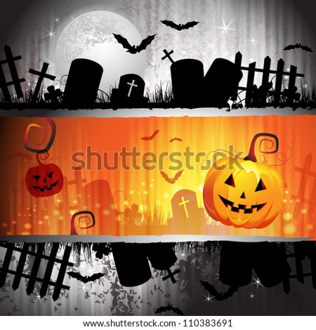 Halloween card design with pumpkin and cemetery