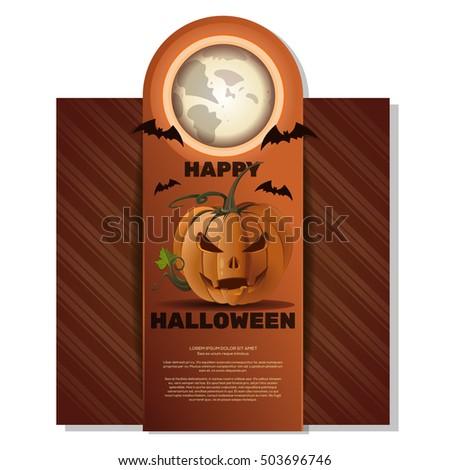 Halloween card. Happy Halloween. Jack-o'-lantern (Jack o lantern), full moon, bats and lettering on a retro background. Vector illustration Stock fotó ©