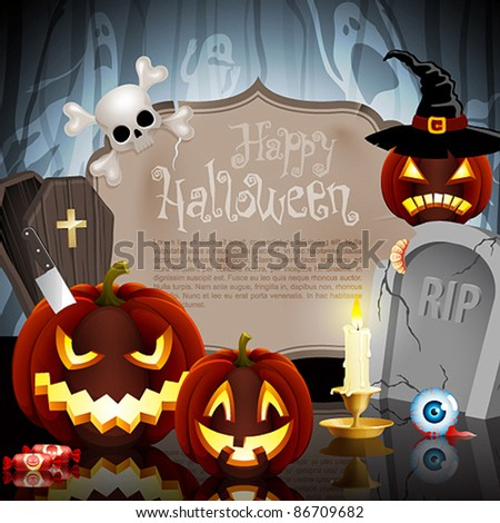 Halloween card on forest background with different objects and place for text. Check my portfolio for raster version.