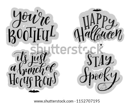Halloween card typography and calligraphy design. A set of 4 Halloween posters, banners, prints, backgrounds, stickers. Hand lettering textured  invitation concept. Vector illustration eps 10.