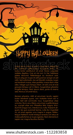 Halloween card with a scary house hidden behind branches, vector, EPS 10