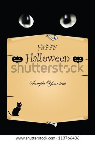 Halloween card with black cat. Vector art