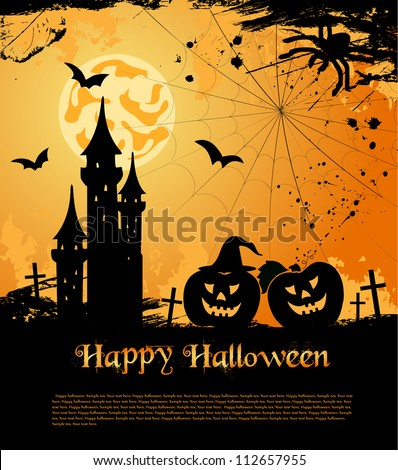 Halloween card with castle, bats and pumpkin. Vector illustration