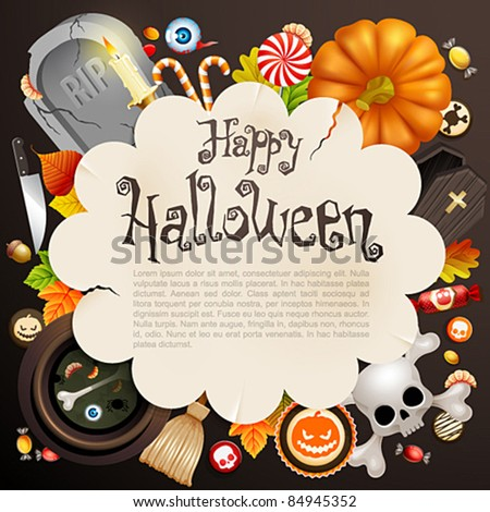 Halloween card with different objects and place for text. Check my portfolio for raster version.