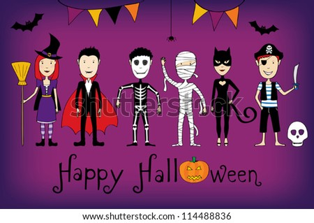 Halloween card with kids in costumes