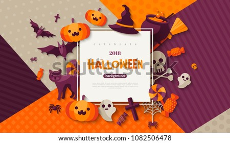 Halloween card with square frame and flat holiday icons on modern geometric background. Vector illustration. Place for your text.