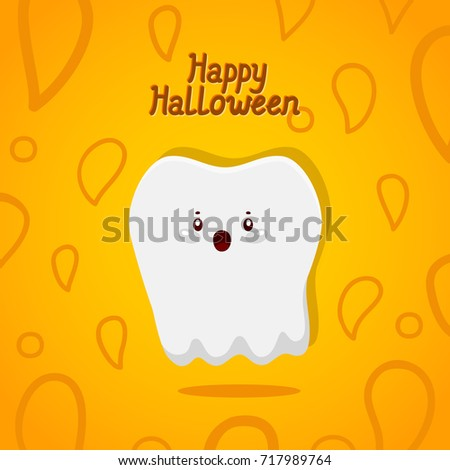 Halloween card with tooth, ghost, cute illustration for children dentistry, vector.