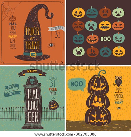 Halloween Cards set. Vector illustration.