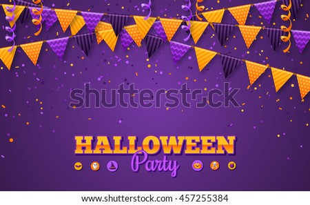 Halloween Carnival Background with Flags Garlands and Serpentine. Vector Illustration. Party Invitation Concept in Traditional Colors with Place for your Text.