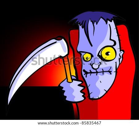 Halloween cartoon monster with reaper