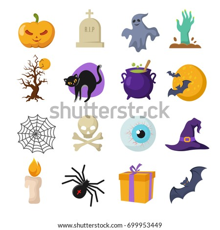 Halloween cartoon vector cute characters. Ghost and witches hat, pumpkin and bat icons