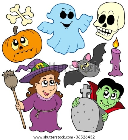 Halloween cartoons collection - vector illustration.